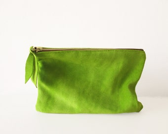 Lime Green Leather clutch, Leather Pouch