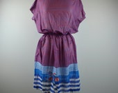 Medium Striped Nautical Beach Smock Dress with Elasticated Waist
