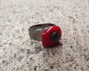 Hematite Funky Red Fused Glass Ring, Red Glass Ring, Flower Ring, Hippie Ring, Teen Ring