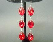 Red Earrings Ruby Red Rhinestone Vintage Estate Style Wedding Bridal Earrings
