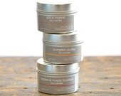 Fall Scents Soy Candle Tin Set  of 3 - apples & maple bourbon - spice market - pumpkin souffle - fall candles - holiday candles