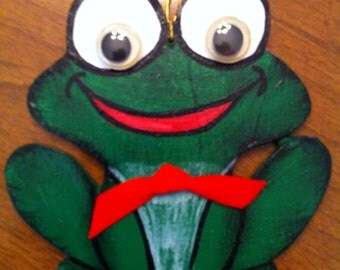 Frog Ornament or gift tag.  Wooden handpainted ornament.  Free personalization