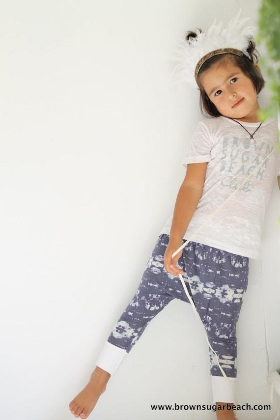 Kids Harem Pants. Gray lavender & white tie dye print by BsugarB