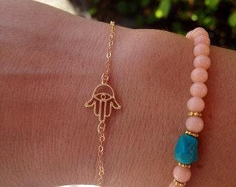 14k Gold Hamsa Hand of Fatima Bracelet, Custom Sizes Available