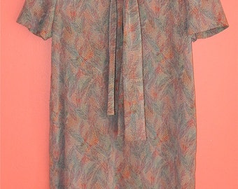 Vintage 80s Ascot Pussy Bow Lightweight Watercolor Pastel Lavender Indie Hipster Boho M Medium Large Shift Tent Dress