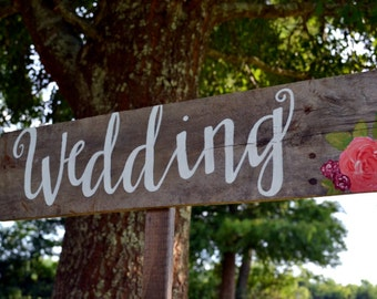 Directional Wedding Sign, Wedding Arrow, Arrow Wedding Sign, Wood Wedding Sign , Wedding Sign with Calligraphy and Flowers