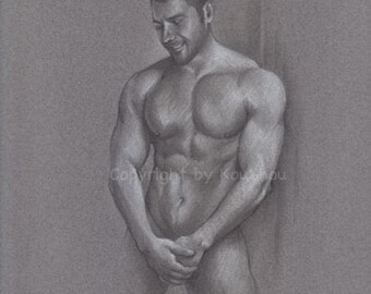 Print, Fine art drawing MALE NUDE in pencil and white charcoal, figure drawing, art, gay interest