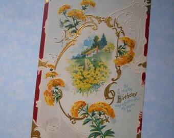 Antique Cottage Happy Birthday Greeting Edwardian Post Card Postcard