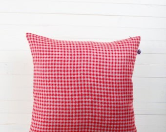Red linen pillow cover checkered classic  0215