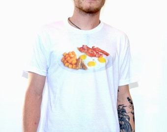 The Breakfast Tee Shirt - Men's T-shirt with Bacon and Eggs -