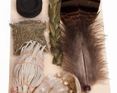 High Spirits Smudge Kit aids prayers, encourages healing & bestows blessings includes sage, Sweetgrass, Cedar, Abalone Shell, Turkey Feather