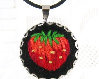 Hand embroidered jewelry, embroidered pendant necklace with red strawberry