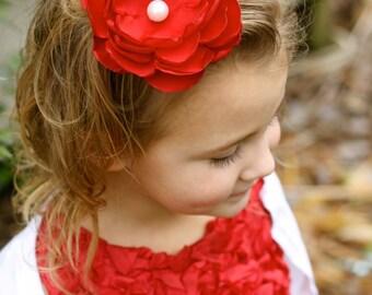 Custom Flowergirl Hair Clip - Christmas Hair Clip - Baby Shower Gift - Red Flower Hair Clip
