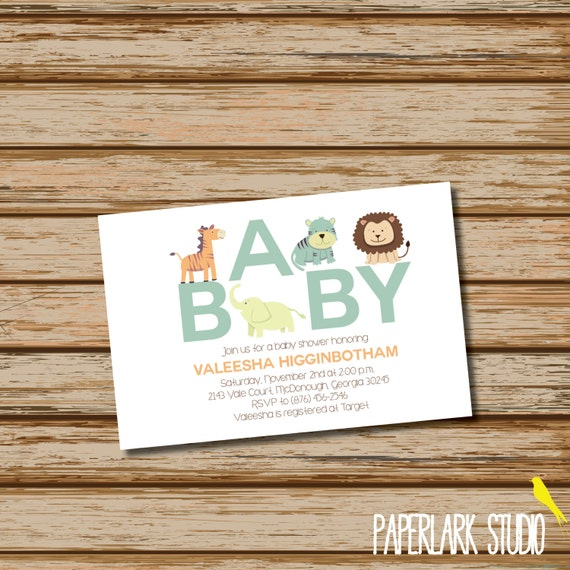 Jungle Safari Zoo Baby Shower Invitation