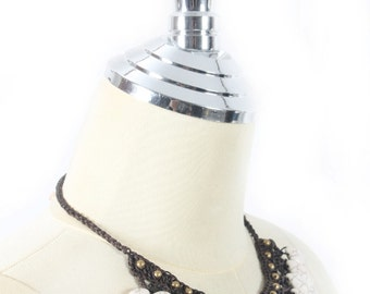 Brass Beads With White Drop Stone Necklace Handmade in Thailand FAIR Trade Wax Cotton String (N415-W)