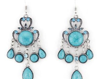 Vintage Silver-tone Blue/Pink Stone Bohemia Style Chandelier Drop EARRINGS