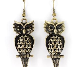 Pretty Cute Vintage Gold-tone Double Sides 3D Owl Dangle Drop Earrings