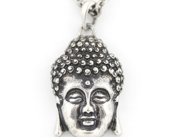 Vintage Feel Silver-tone Double Sides Buddha Head Lotus Pendant NECKLACE