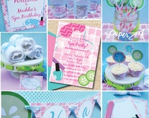 SALE!! INSTANT DOWNLOAD, Spa Girl Birthday, Pink, Turq, Printable Party Package, You Edit in Adobe Reader