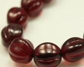 Bead, Preciosa Czech pressed glass, garnet red, 10x8.5mm fluted round, Qty. 10 beads, Czech Glass Beads
