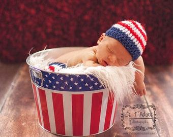 Crochet Patriotic Newborn Hat