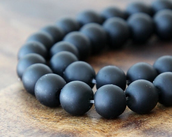 Matte Black Agate Beads, 12mm Round - 15 inch strand - eGR-AG001-12