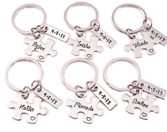 Bridesmaid Gift Puzzle Piece Set - Engraved Jewelry - Wedding Date and Name - Bridal Party - Choose Number - Personalized Bridesmaid - 1253