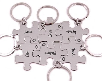 Bridesmaid Favor Gift - Puzzle Piece - Engraved Puzzle Piece Keychain - Wedding - Bridal Party - Wedding Puzzle - Bridesmaid Keychain - 1195