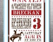 Cowboy Western Birthday Invitation, Printable, Customized