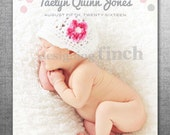 Girl Birth Announcement Photo Card, Modern Dots, Printable and Customizable #118