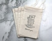 Wedding favor bags, muslin, 3x5. Set of 50. Tea cups, tea party theme. Vintage style team cups with Thank You script in black.