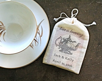 Personalized wedding favor bags, 3x4.5. Set of 50 double drawstring muslin bags.  Love is Brewing tea pot with names and wedding date.