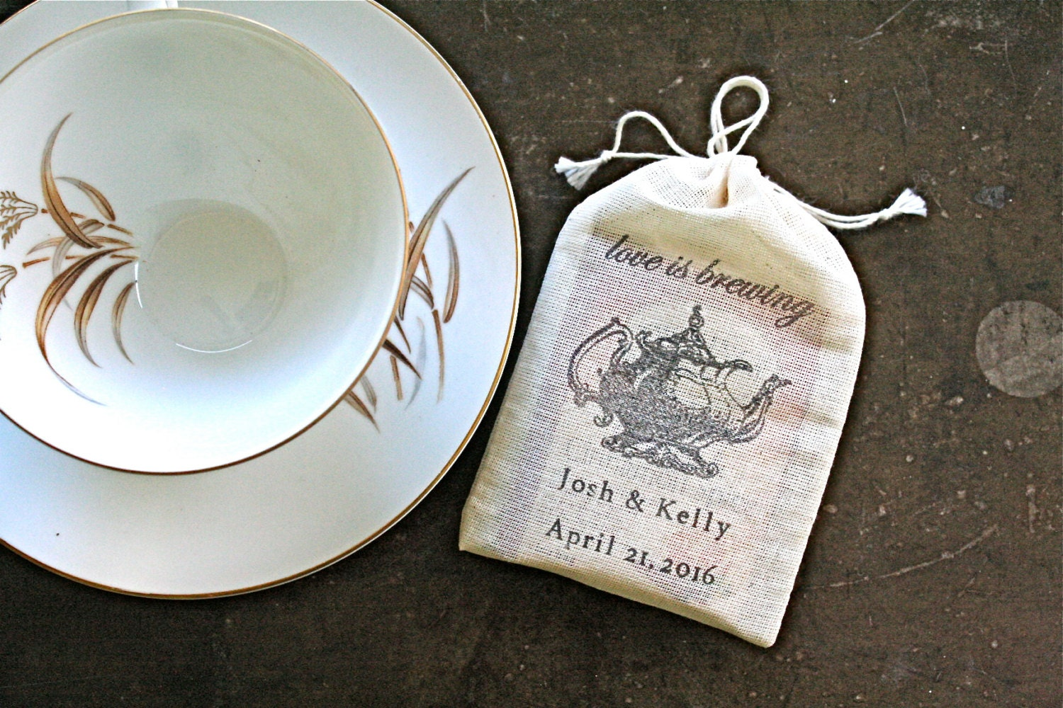 Personalized wedding favor bags 3x4.5. Set of 25 double