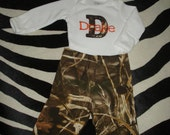 Made to Order - Infant Boy Personalized Hunting Fishing Camo Outfit Onesie Hat Pants Real Tree AP Max 4 HD Advantage Thermal Snow Camo