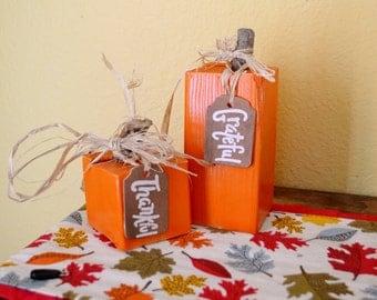 Wooden Block Pumpkins - Set of 2 shelf sitters