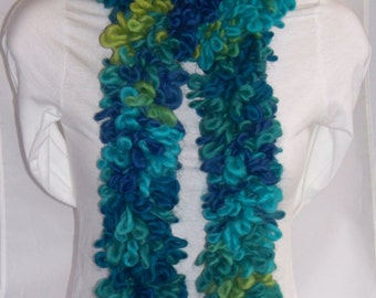 Loopy Scarf, Blue and Green