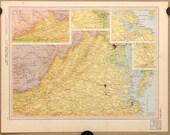 Virginia Vtg Map, 1949