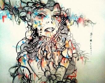Pop surrealistic art print. 5x7 inch abstract portrait illustration print.