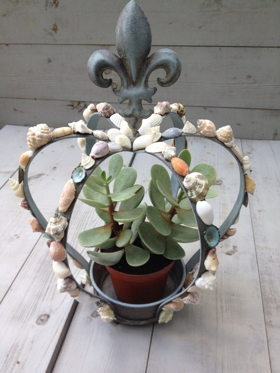 seashell crown fleur de lis design seashell planter seashell. Black Bedroom Furniture Sets. Home Design Ideas