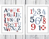 Nautical Alphabet  and Number Print Set  -  Custom Colors -  Nursery Decor