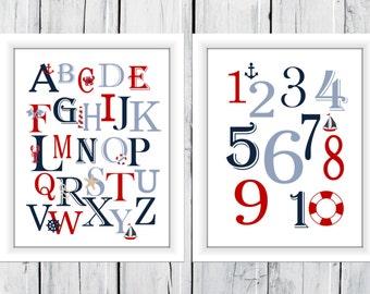 Nautical Alphabet  and Number Print Set  -  Custom Colors -  Nursery Decor