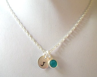 Personalized Birthstone Necklace -- Bride/Bridesmaids, Birthday Gift, Sterling Silver, Simple/Elegant -- MADE TO ORDER