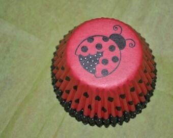 50 Standard Ladybug Cupcake Liners/Cupcake Liners/Ladybug Liners/Liners