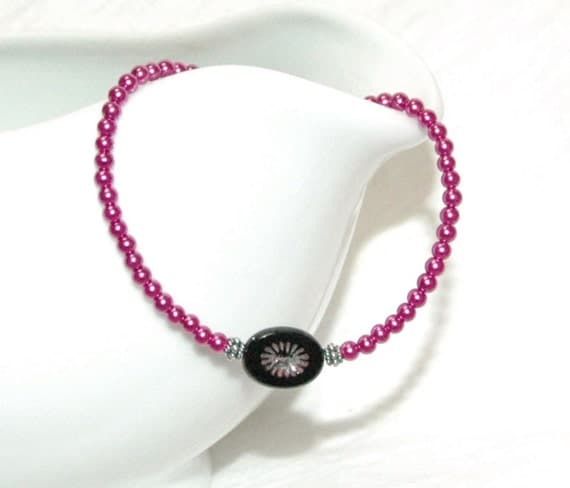 Pink Pearl and Black Flower Bracelet