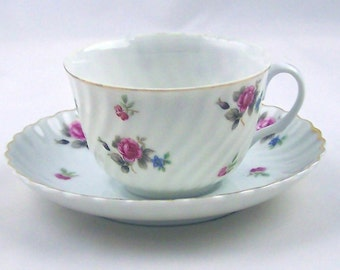 Vintage Teacup and Saucer Pink Rose Chintz by Royal Sealy