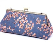 Blue Grey Clutch Purse, Gift,  Handmade Purse of Asian Cherry Blossom on Blue Linen by WhiteCross Designs in USA, Ready to Ship
