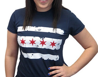 Retro Chicago Flag T-Shirt Vintage Chi-Town The Windy City Illinois Pride Retro Pop Culture Tee Shirt Mens Womens S-3XL Great Gift Idea