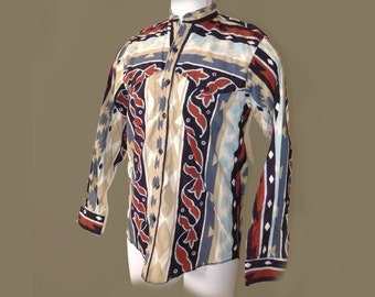 Country / Western Banjo brand cotton vintage men's shirt - Dallas TX, Navajo / American Indian style M button down