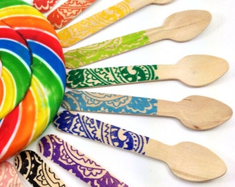 25 Paisley SMALL Wooden Ice Cream/ Cupcake Spoons,Custom Colors Available, wooden utensils, cutlery, silverware, kid's party, rainbow