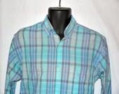 Vintage 70s Levis plaid shirt / 1970s Levis button up 1980s / mens mans unisex / 80s pastel colorgraphs ... M L chest 46